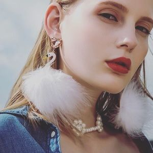 Crystal White Swan Feather Statement Earrings